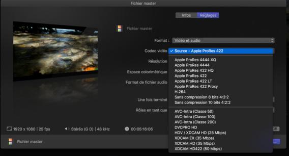 Nouveaux formats d'exportation dans FCPX 10.3