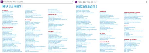 Index du PDF de formation à Première Pro CC 2019