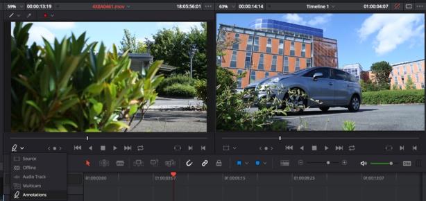 Choisir le mode Annotations dans les options des visualiseurs source ou montage.