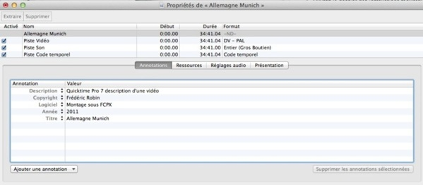 Accès aux fonctions de montage de QT Pro 7