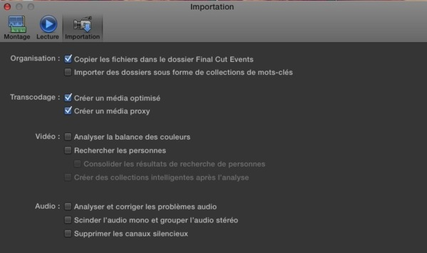 Préférences d'importation de Final Cut Pro X