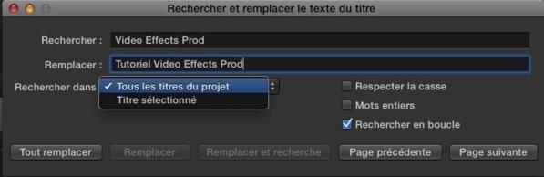 FCPX : Rechercher et Remplacer du texte