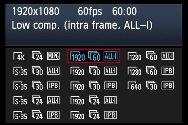 Les options d'enregistrement du Canon EOS 1DC.
