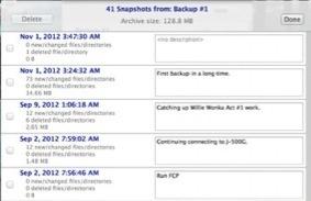 Gestion des snapshots de sauvegarde de Backup for FCP