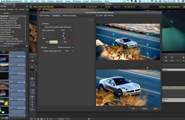 Option FrameFlex pour régler la taille des médias et changer le ratio de l'image.