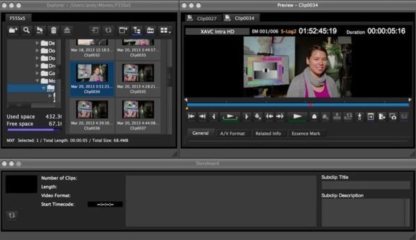 Ouvrir Content Manager pour gérer les médias XAVC des Sony F5 ou F55.