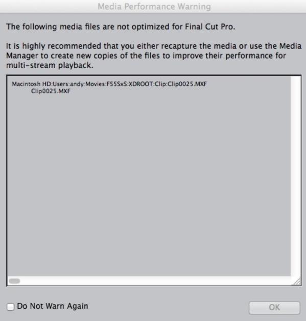 Avertissement de FCP7 sur l'importation des fichiers de la F5 ou F55.