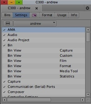 Settings d'Avid Media Composer 6.