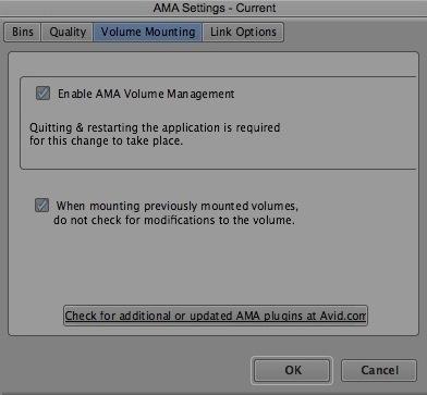 Validez les volumes AMA dans Media Composer 6.