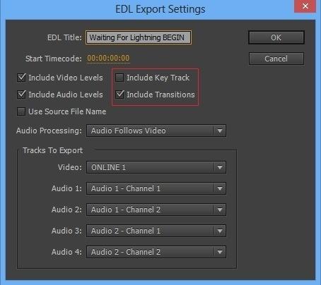 Nouvelles fonctions de l'export EDL.
