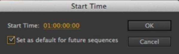 Nouvelle option de timecode par défaut des nouvelles séquences.