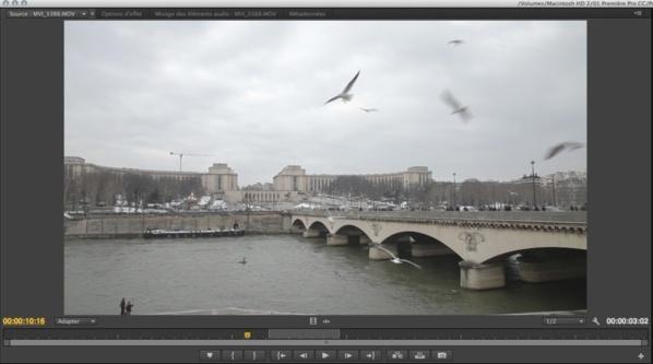 Poser un clip directement du Finder vers le moniteur source.