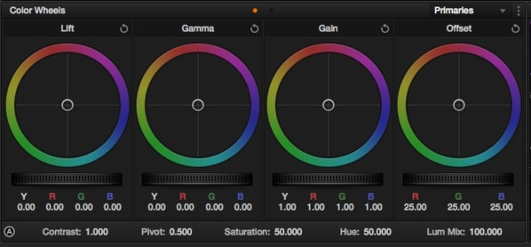Color Wheels de DaVinci Resolve Lite 10