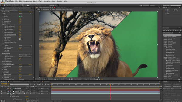 Effet Chrama Key sous After Effects.