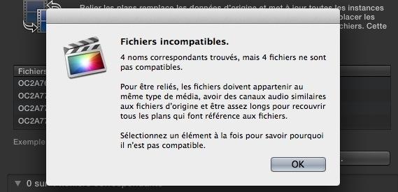 Erreur de Fichiers incompatibles dû au son manquant sur la timeline et présent dans les originaux du montage.