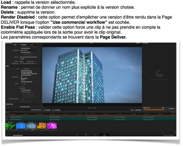 Les options des versions d'un clip dans la timeline du logiciel daVinci resolve 11