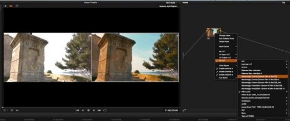 Exemple de conversion d'un image Flat avec une LUT 3D sous DaVinci Resolve