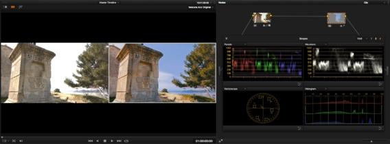 A gauche image originale, à droite image étalonnée sous DaVinci resolve