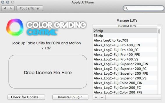 Gérer les LUTs avec FCPX 10.1.4