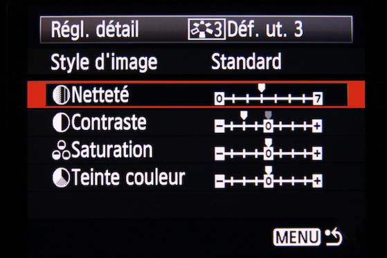 Modification d'un style d'image dans le Canon 5D Mark III