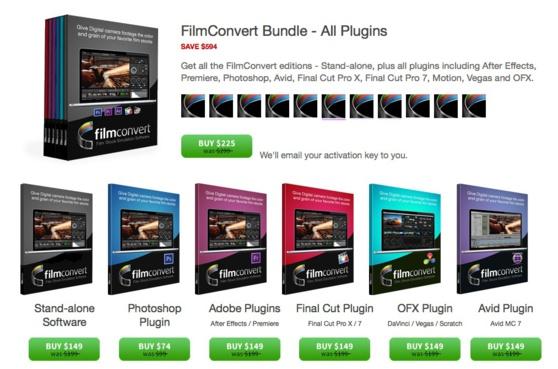 Bundle de FilmConvert et leurs prix.