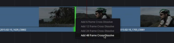 Option d'ajout de fondu sur une transition DaVinci Resolve 12