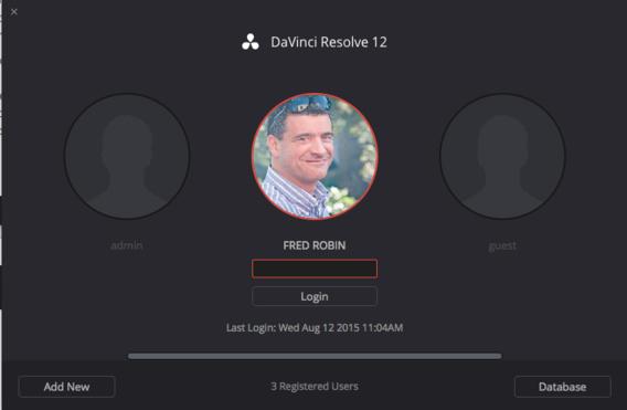 Choisir un compte utilisateur avec DaVinci Resolve 12