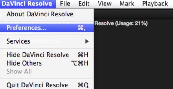 Ouvrir les préférences du logiciel de DaVinci Resolve 12