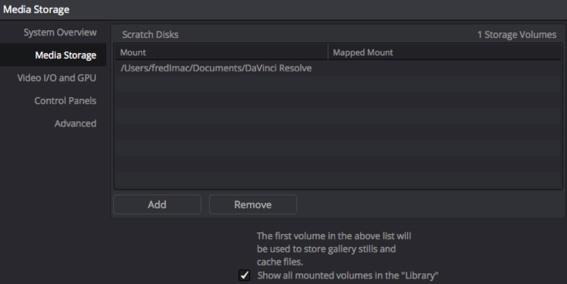 L'onglet Media Storage pour valider un volume ou un dossier dans le logiciel.