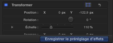 Enregistrer le préréglage d'effets de FCPX 10.2