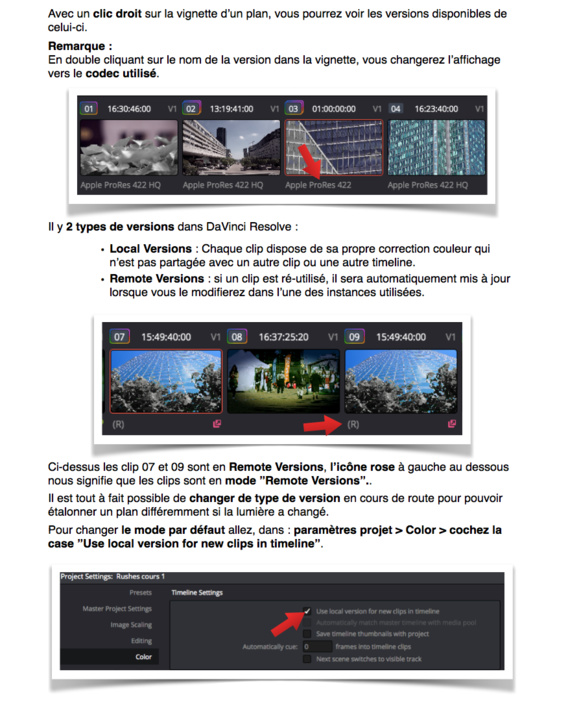 Gérer les versins d'étalonnage sous DaVinci Resolve 12.5