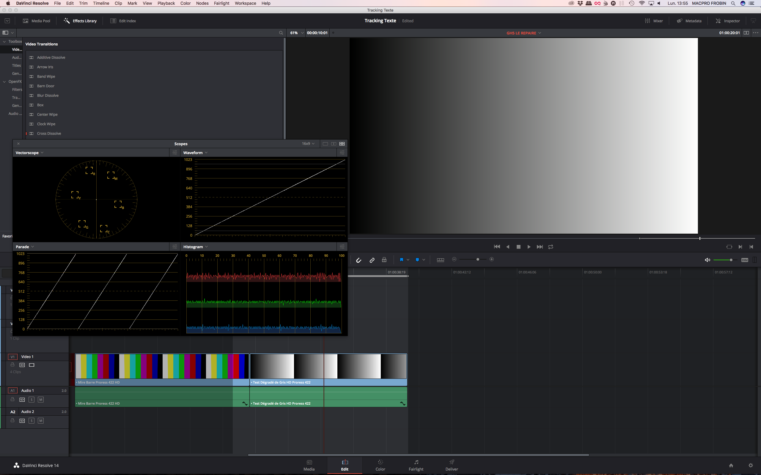 DaVinci Resolve 14.1 gestion des scopes dans la page Edit.