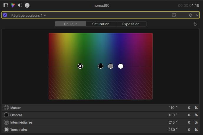 Réglages couleur FCPX 10.4 d'Apple