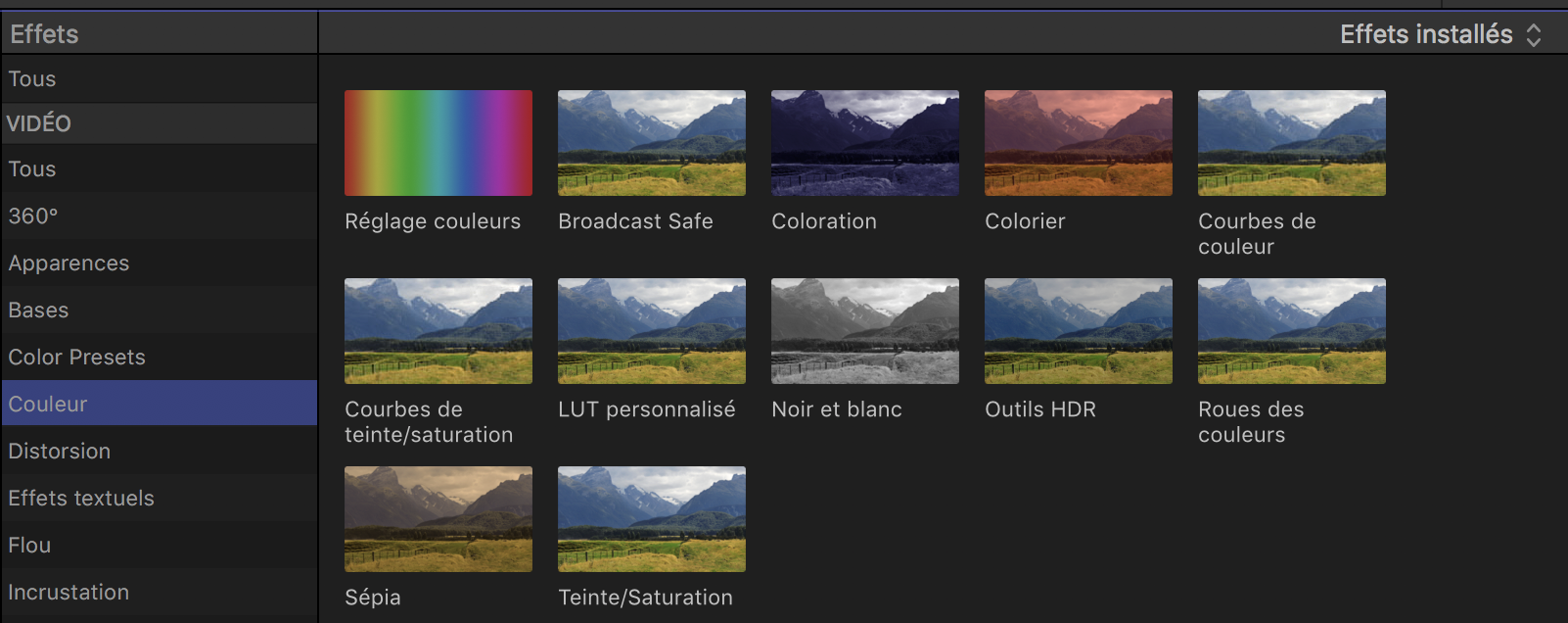 Organisation du panneau couleurs de FCPX 10.4