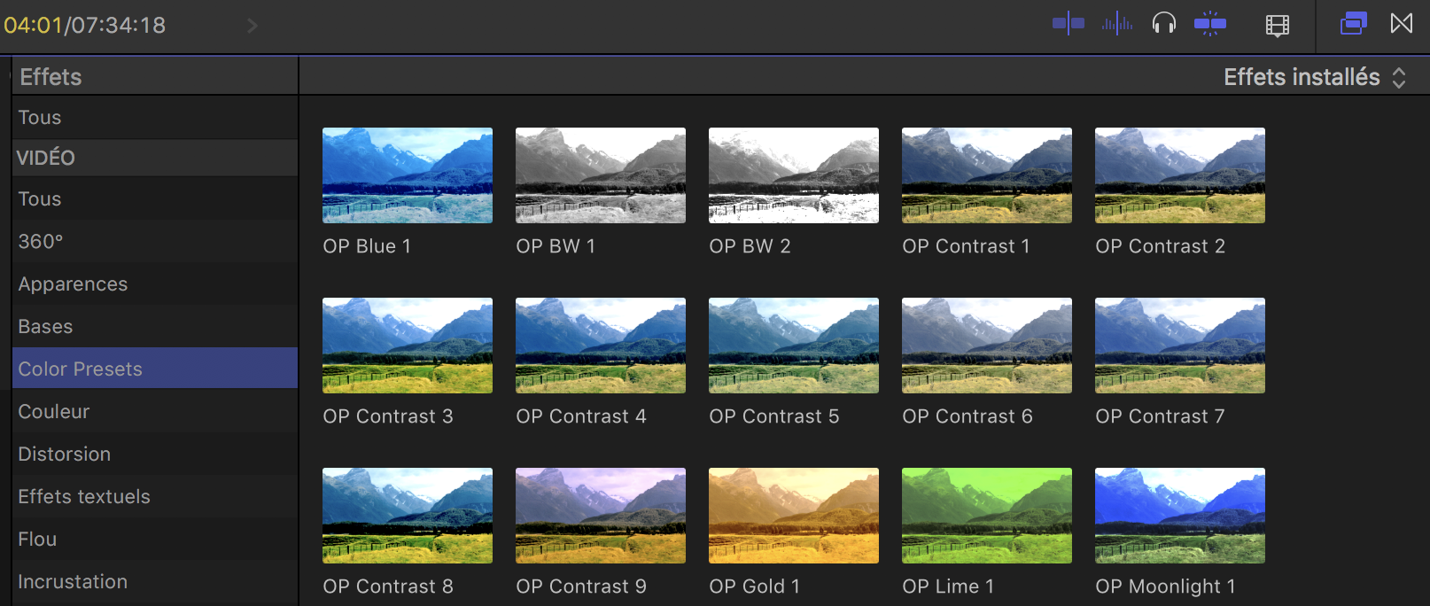 Onglet Presets couleur FCPX 10.4