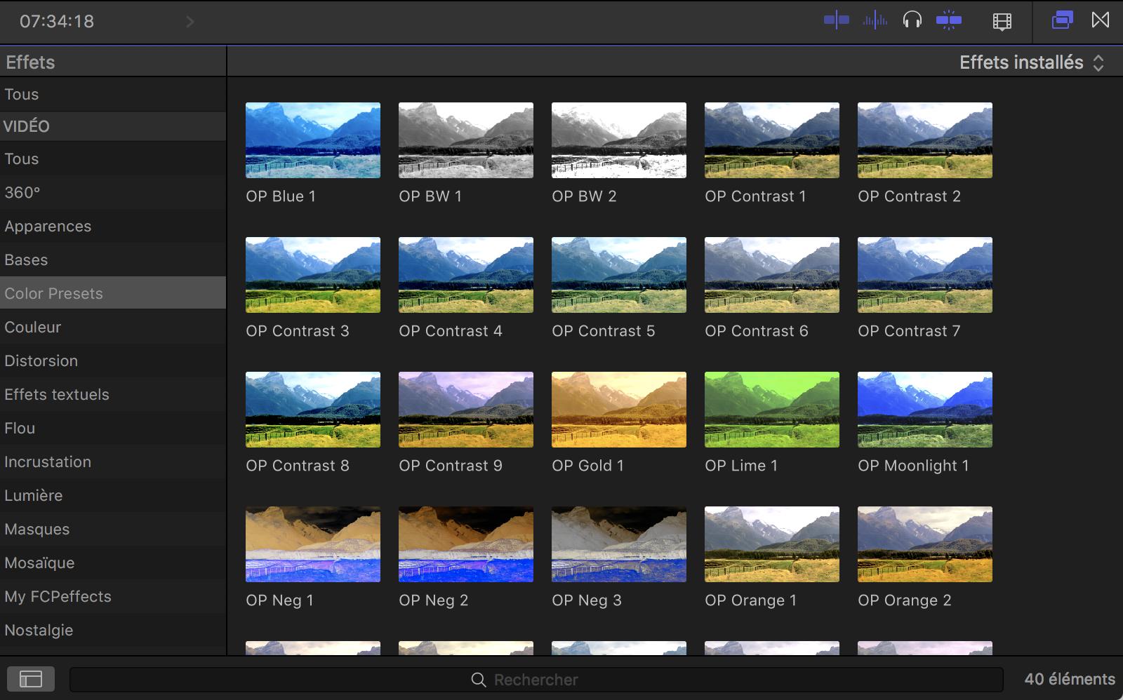 Presets couleurs pour FCPX 10.4