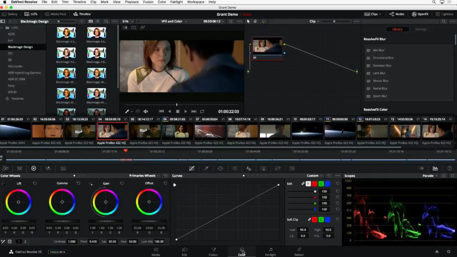 DaVinci Resolve 15 survol des LUTs en direct dans la page Color.