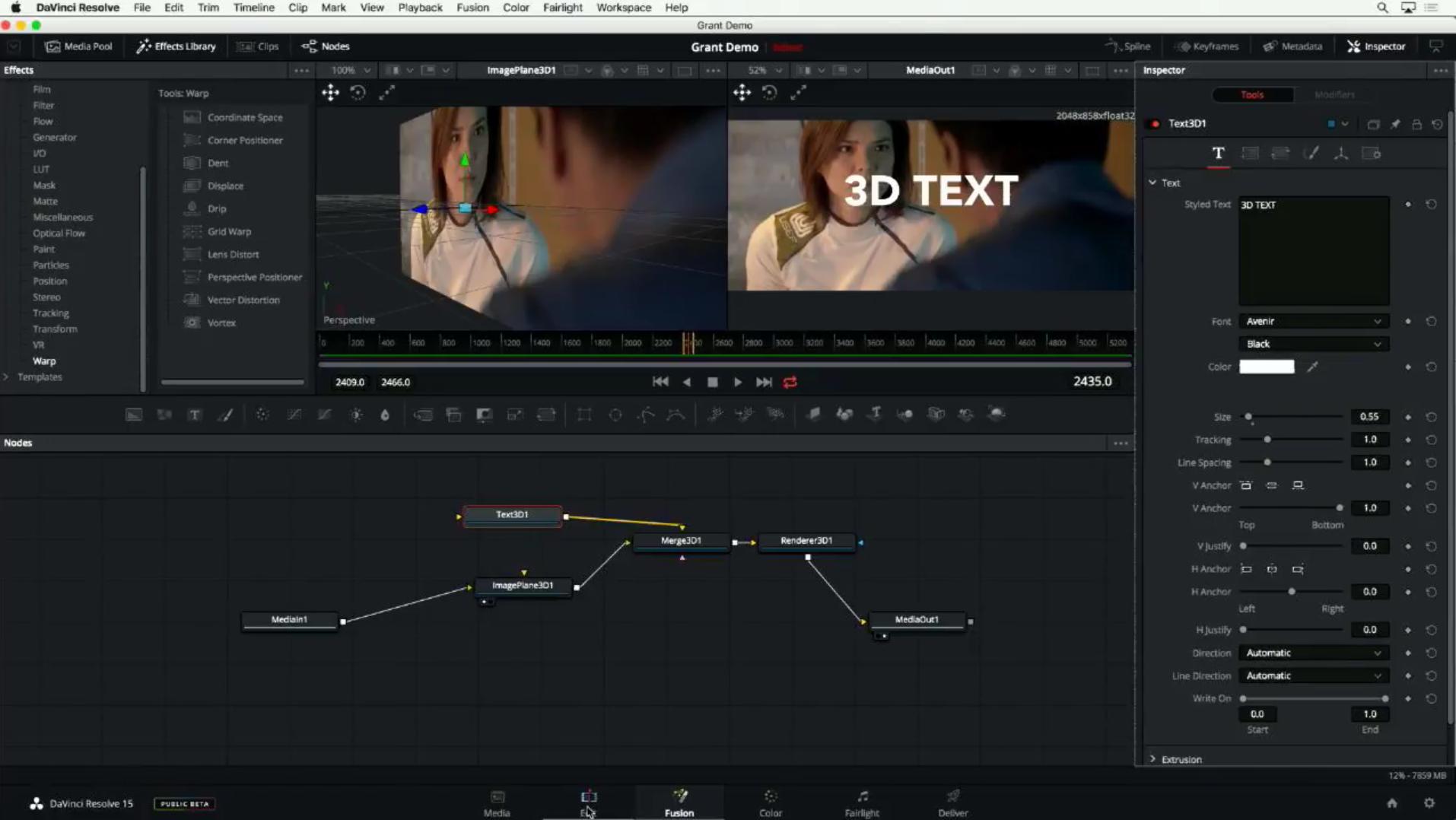 DaVinci Resolve 15 : Page Fusion pour des effets complexes sans sortir du logiciel.