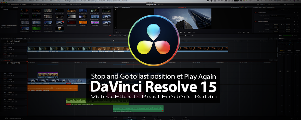 DaVinci Resolve 15 : Stop and Go to last position et Play Again