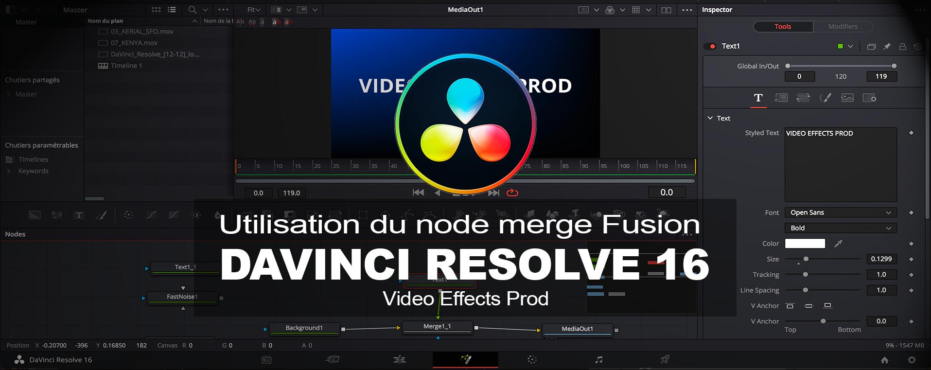DaVinci Resolve : Utilisation du node Merge dans la page Fusion