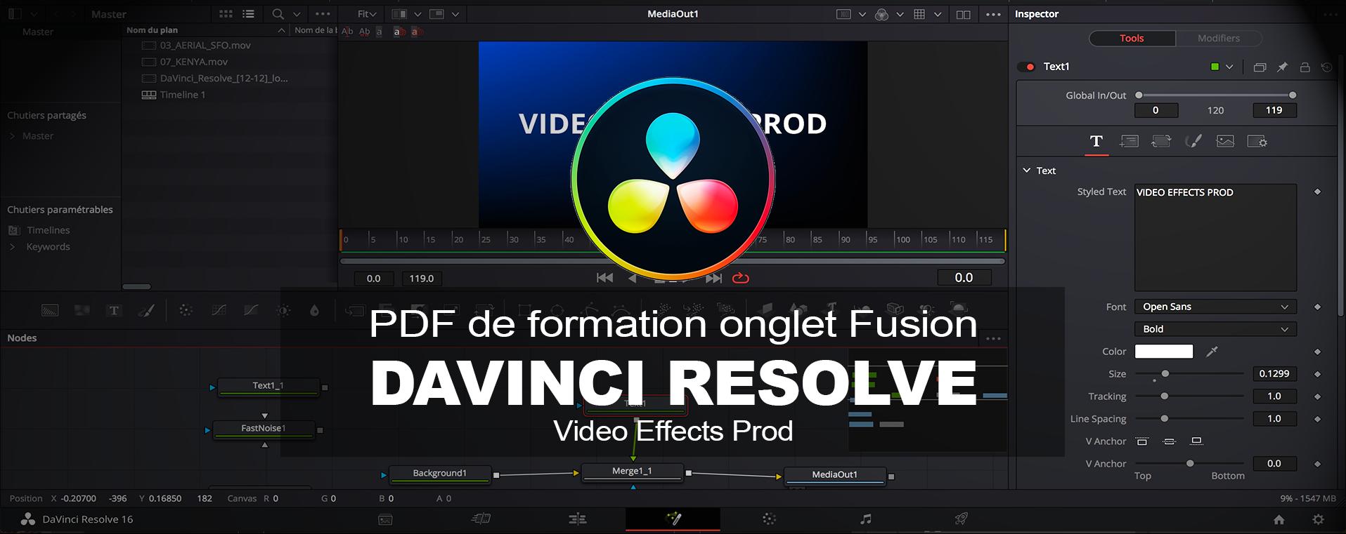 Utiliser Fusion dans DaVinci Resolve : PDF de formation en français