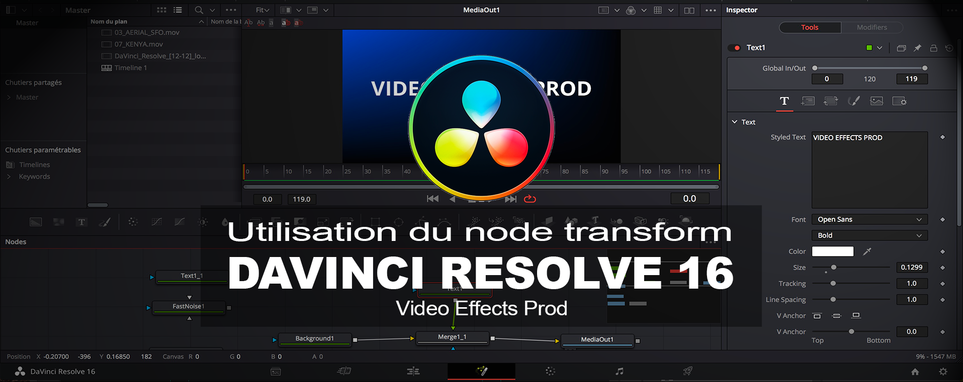 DavInci Resolve : Utilisation du node Transform dans la Page Fusion