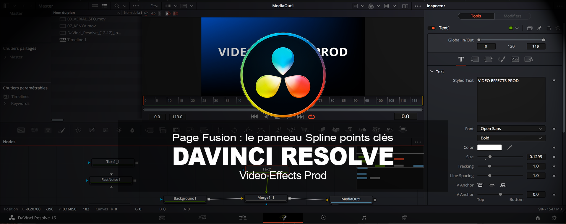 DaVinci Resolve : L'éditeur de points clés Spline