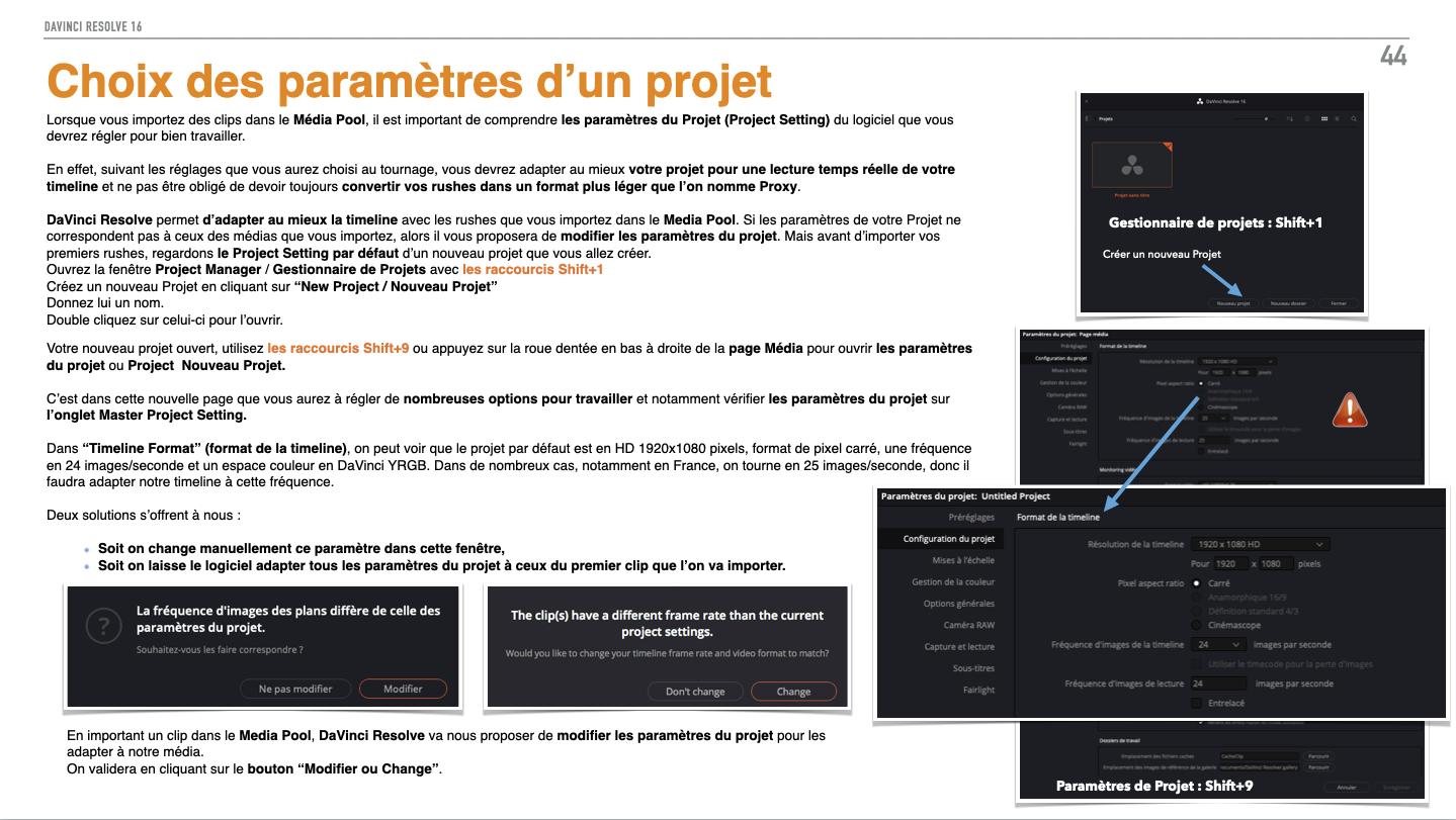 Les paramètres d'un projet