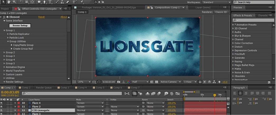 After Effects Element : réaliser l'animation Lions Gate par Videocopilot