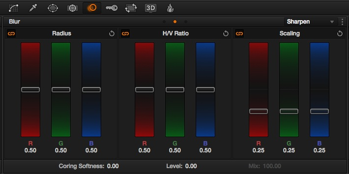 "Fonction ""Sharpen"" sous DaVinci Resolve Lite 10."