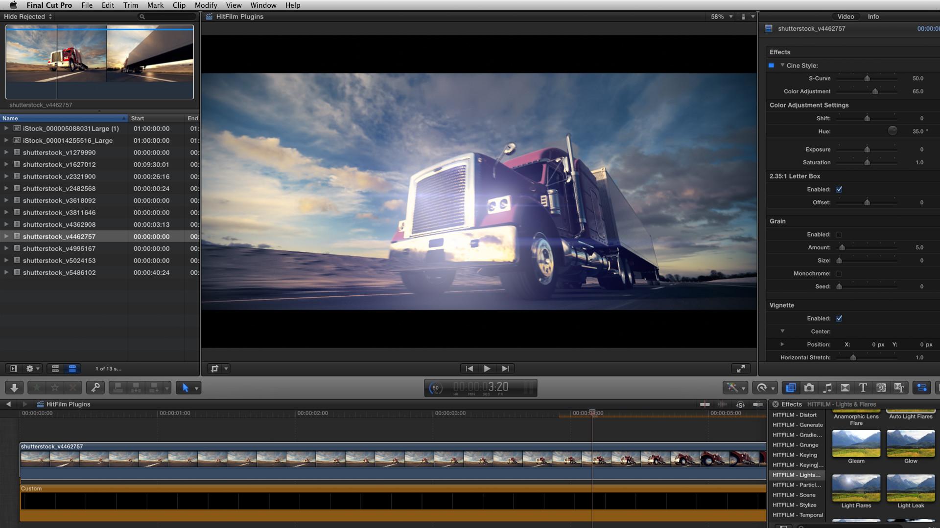 Effets de lens flare et couleur correction sous Final Cut Pro X.