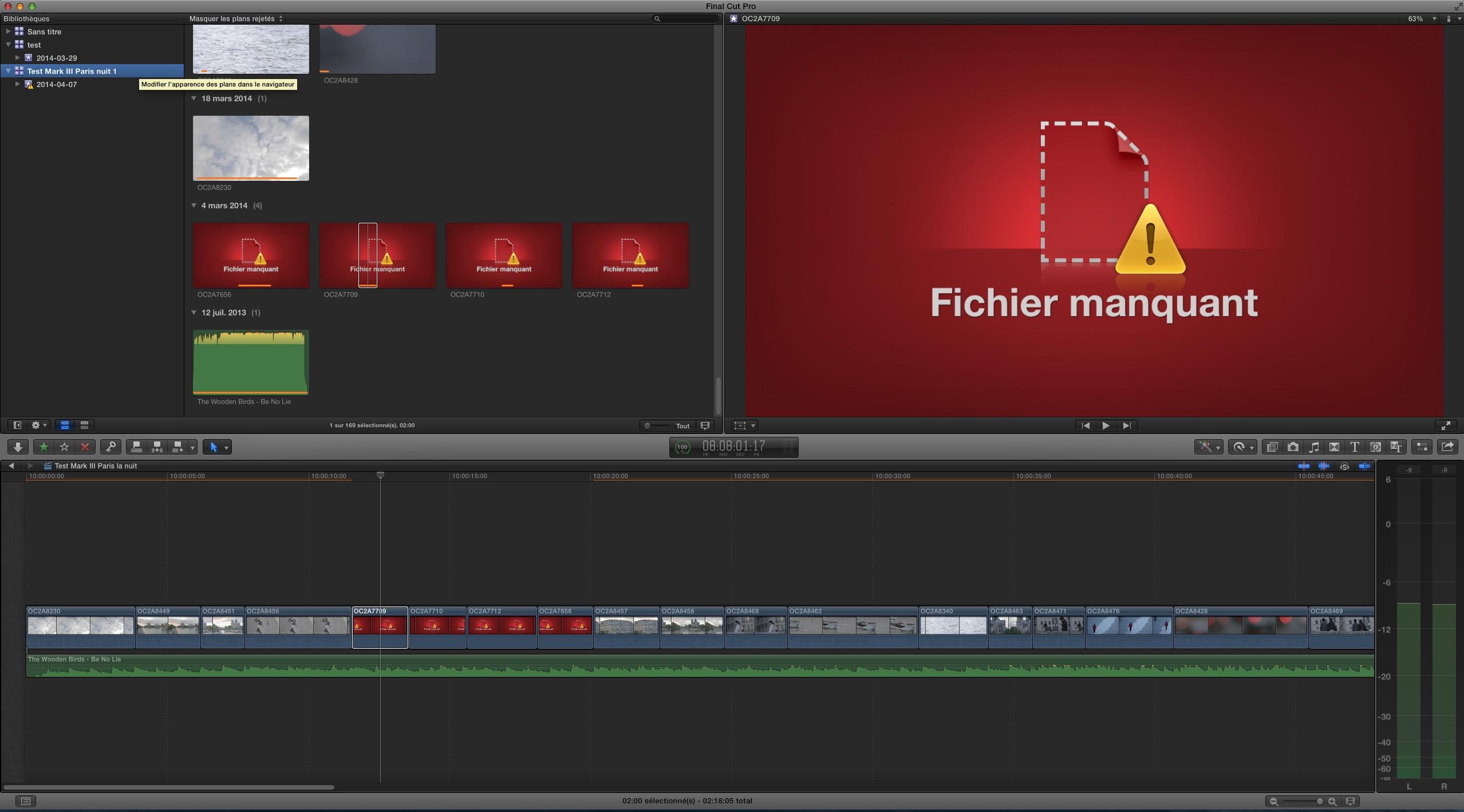 Fichiers manquants sous FCPX 10.1.1
