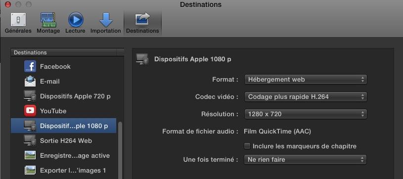 Modifier une destination de Partage sous FCPX 10.1