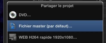 Fichier Master, valeur par défaut de la commande Cmd+E sous FCPX 10.1.1